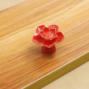Lovely Lotus Ceramic Drawer Cabinet Cupboard Door Pull Handle Knob Multicolor - intl ...