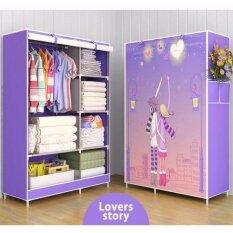 lwx ตู้เสื้อผ้า ตู้เก็บเสื้อผ้าภาพวาด 3 มิติ โครงเหล็กแข็งแรง ขนาด 4 ชั้น 6 ช่อง (สีมวง)