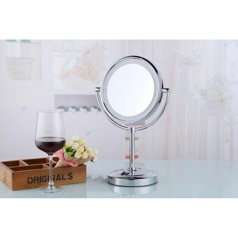 M3038TF 8 Inch Brass DC Power Double Side Ultra Thin Cosmetic Shaving Mirror Desktop Makeup Mirror with Led Light(Silver)