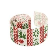 MagiDeal Christmas Elk Burlap Ribbon Roll Natural Jute Tape Wedding DIY Gifts Crafts - intl