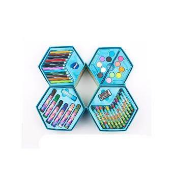 Mimosifolia ชุดจิตรกรรมสำหรับเด็กชุดปากกาน้ำดินสอเขียนสีดินสอเด็กกล่องของขวัญชุดเครื่องเขียนโรงเรียน 46PCS Blue - intl