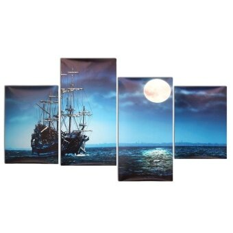 Modern 4Pcs Canvas Painting Sea Ship Print Picture Home Wall Art Decor No Frame - intl