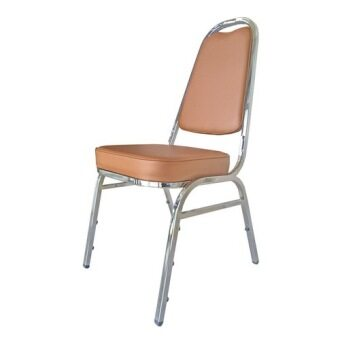 Nanapan Shop เก้าอี้นั่ง เก้าอี้เบาะนวม รุ่น Nchair-1 โครงเหล็กชุบเบาะสีน้ำตาลอ่อน