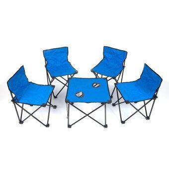 Nance Shop ชุดโต๊ะทานอาหาร พร้อมเก้าอี้ 4 ตัว – สีน้ำเงิน