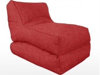 ต้องการขาย New Brand Bean Bag ทรงเตียงนอนมีที่วางเท้าแบบพับเก็บได้ผ้าลินิน50x120x20 cn - สีแดง