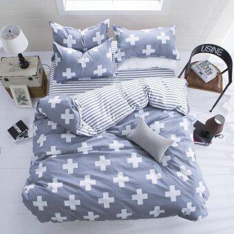 นิวแฟชั่นชุดนอน 4ชิ้น/3ชิ้นผ้านวมเครื่องนอนชุดผ้าฝ้ายเนื้อนุ่มปลอกหมอนชุดผ้าปูที่นอนบ้านแบนเท็กซ์ไทล์
