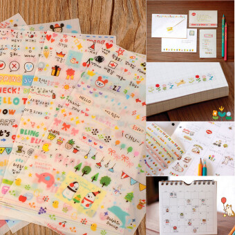 New Lovely 6 Sheet Paper Stickers for Scrapbook Book Wall PhoneDecor DIY - intl