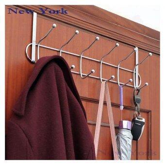 New York Big Sale ที่แขวนผ้า ที่แขวนสิ่งของหลังบานประตูสแตนเลส No.016 - สีเงิน