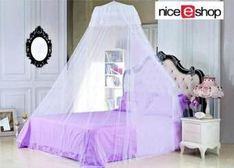 niceEshop ขาวผ้าลูกไม้หรูหราดาดเพดานเตียงมุ้งกันยุง