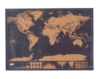 Harga niceEshop Scratch Off World Map,Scratch Off World Travel TrackerPoster Map,30x42.5cm,Black - intl