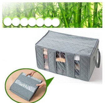 niceEshop Three Grid Bamboo Charcoal Clothing Storage Box WithWindows Category - 3