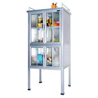 NISSIN ตู้กับข้าว ตู้ครัวเอนกประสงค์ 2 ฟุต 4 ประตู อลูมิเนียม (สีเงิน)