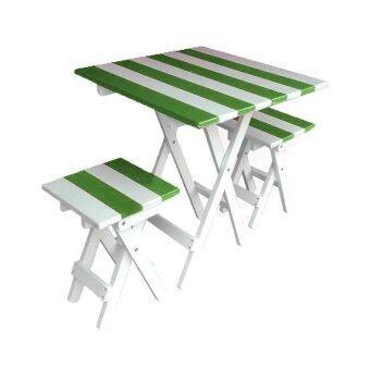 NT ชุดโต๊ะปิ๊กนิคทูโทน เหลี่ยม (สีเขียว/ขาว)