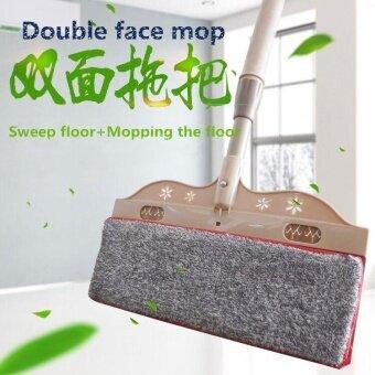 Ocean New Two-sided Mop Bibulous mop Telescopic rod Flat mop Woodfloor dust mop(Khaki) - intl