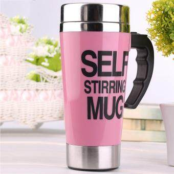 OH 500ml Stainless Steel Self Stirring Mug Auto Mixing Tea Coffee Cup Office Pink