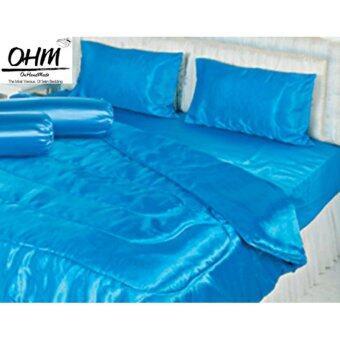 OHM ผ้าปูที่นอน ผ้าเครปซาติน 220 เส้น ขนาด 6 ฟุต 3 ชิ้น สีฟ้า