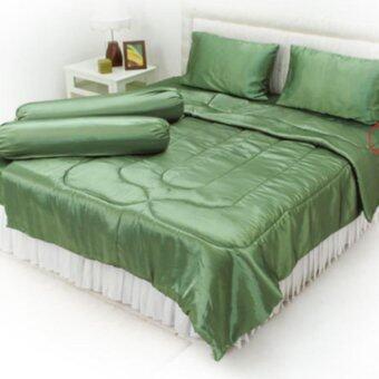 OHM ผ้าปูที่นอน ผ้าเครปซาติน 220 เส้น (สีเขียวปีกแมลงทับ)
