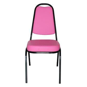 OK&MShop เก้าอี้จัดเลี้ยง เก้าอี้สัมนา รุ่น Banquet Chair01โครงขาสีดำ-เบาะชมพู