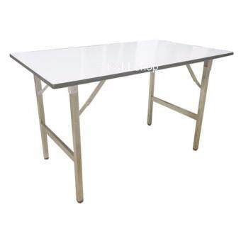 OKMshop โต๊ะพับประชุม โต๊ะจัดเลี้ยง โต๊ะสัมนา รุ่นTF#1.2CR+WH(75x150) ขาชุบโครเมี่ยม+ท้อปสีขาว