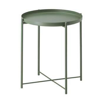 โต๊ะกลมยกขอบ โต๊ะวางถาด สีเขียวเข้ม สูง: 525 มม.