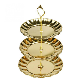 PAlight Cake Desserts Fruit Plates Stand (3 Layer gold) (Intl)