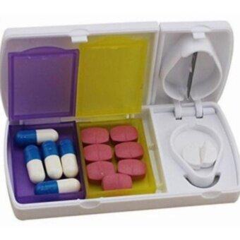 ตลับแบ่งยา ตัดเม็ดยายา พร้อมกล่องเก็บ กล่องใส่ยา  Pill cut Pill box