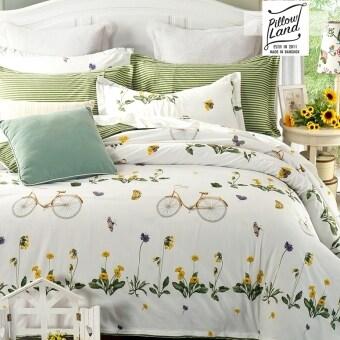 Pillow Land ผ้าปูที่นอน ชุดผ้านวม 6 ฟุต 6 ชิ้น ลาย KC019
