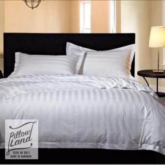 Pillow Land ผ้าปูที่นอน ชุดผ้านวม เกรด A 6 ฟุต 6 ชิ้น ลายริ้ว 104 ...