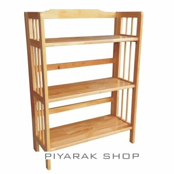 รีวิว Piyalak SHOP ชั้นไม้อเนกประสงค์ ชั้นไม้วางของ 3 ชั้น รุ่นไม้ยางพาราพับได้ (สีธรรมชาติ)