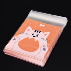 Pop 100PCS Cute Animals Candy Cake Packaging Bags Self-adhesive Gifts Bags Party Cat 10cm*10cm+3cm - intl