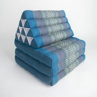 PRAEMAI หมอนอิงพร้อมเบาะนอน หมอนสามเหลี่ยม 10 ช่อง 3 พับ สีฟ้า