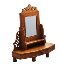 โต๊ะเครื่องแป้งพร้อมกระจก สีเนื้อไม้