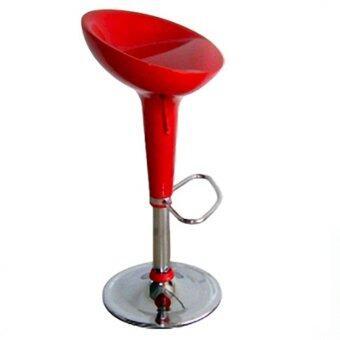 เก้าอี้บาร์ เก้าอี้ ปรับระดับด้วยระบบไฮโดรลิค สีแดง