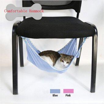 บ้านสัตว์เลี้ยงแมวตาข่ายเปลญวนแขวนเตียงผ้าคลุมกรงไอสีน้ำเงิน