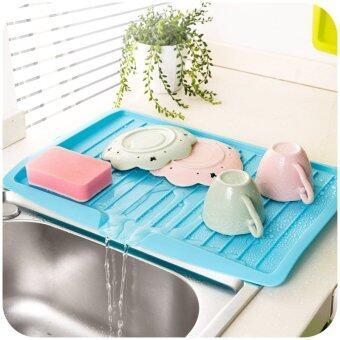 อ่างน้ำและกรองน้ำเก็บจานพลาสติกชั้นวางชั้นหนังสือครัวโต๊ะอาหารออแกไนเซอร์-สีน้ำเงิน