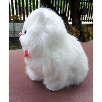 ตุ๊กตารูปแมวนั่ง ผูกโบว์สีแดง มีปุ่มกดด้านใต้ มีเสียงลูกแมวร้องสีขาว - 3