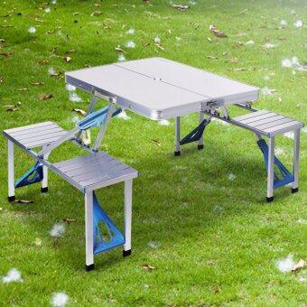 แนะนำ QNIGLO Aluminum Portable Folding Suitcase Table with 4 Seats for Kitchen Party Outdoor Picnic Camping