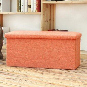 Rectangular linen covered storage stool storage box - Orange (40 *25 * 25CM)