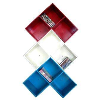 RELUX หิ้งพระ ชั้นวาง ทรง Lego DVD /ใส่หนังสือการ์ตูน 3 ช่อง (สีแดง-สีขาว-สีฟ้า) 3ชิ้นDVDV-42