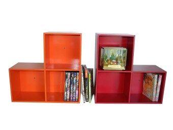 RELUX หิ้งพระ ชั้นวางทรง Lego DVD /ใส่หนังสือการ์ตูน 3 ช่อง (สีส้ม-สีแดง) 2ชิ้นDVDV-42
