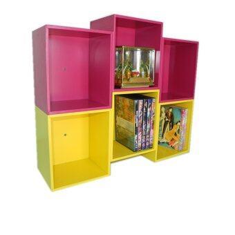 RELUX หิ้งพระ ชั้นวางทรงรังผึ้ง 3 ช่อง ใส่ DVD/หนังสือการ์ตูน เหลือง/ชมพู DVD-24 (2 ชิ้น)