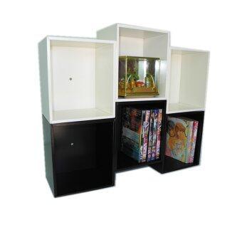 RELUX หิ้งพระ ชั้นวางทรงรังผึ้ง 3 ช่อง ใส่ DVD/หนังสือการ์ตูน ขาว/ช็อคโกแลต DVD-24 (2 ชิ้น)