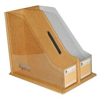 RELUX กล่องใส่แฟ้มเอกสาร หนังสือ นิตยสาร ไม้หนาอย่างดี ชนิดใสพิเศษด้านข้าง 2 ช่อง รุ่น PET-694x2