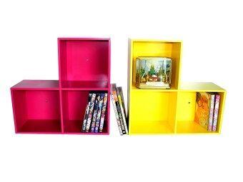 RELUX หิ้งพระ Lego DVD /ใส่หนังสือการ์ตูน 3 ช่อง (สีชมพู-สีเหลือง) 2ชิ้นDVDV-42