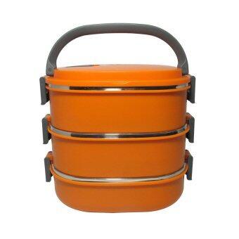 รีวิวพันทิป Replica Shop ปิ่นโตสูญญากาศ 3 ชั้น สีเหลี่ยม - สีส้ม