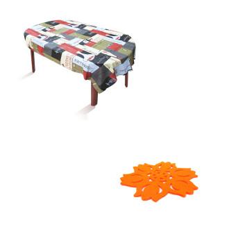 Replica Shop ผ้าปูโต๊ะอาหาร ลาย Sommelier + Replica Shopแผ่นรองแก้วผ้าสักราด ลายทิวลิป (สีส้ม) 12 ชิ้น/แพ็ค