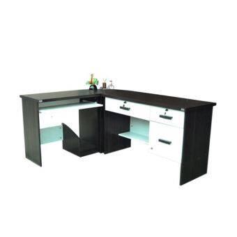 RF Furniture ชุดโต๊ะทำงานเข้ามุม หน้าท็อปผิวเมลามีน รุ่น นีโอ (สีดำ/ขาว )