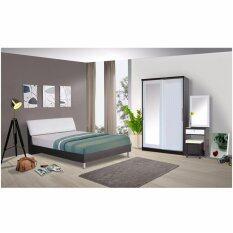 RF Furniture ชุดห้องนอนหัวเบาะขาลอย 6 ฟุต เตียง 6 ฟุต + ตู้เสื้อผ้าบานเลือน 120 cm + โต๊ะแป้ง 60 cm ที่นอนสปริง ( สีโอ๊ค / ขาว )