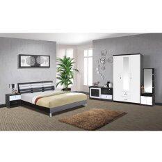 RF Furniture ชุดห้องนอนระแนง 6 ฟุต เตียง 6 ฟุต + ตู้เสื้อผ้า 3 บาน + โต๊ะแป้งยืน 60 cm + ตู้วางทีวี + ตู้ข้างเตียง + ที่นอนสปริง ( สีโอ๊ค / ขาว )
