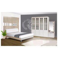 RF Furniture ชุดห้องนอนหัวเบาะ B508 5 ฟุต เตียง 5 ฟุต + ตู้เสื้อผ้า 4 บาน + โต๊ะแป้งยืน 60 cm + ที่นอนสปริง ( สีโซลิค )